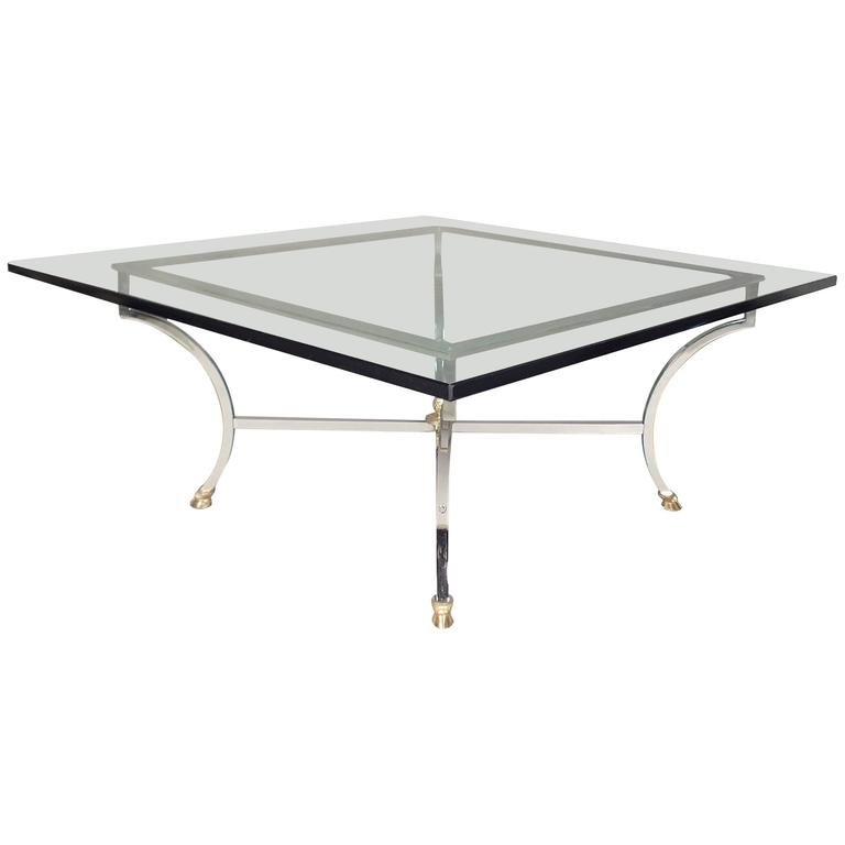 Hollywood Regency Chrome and Glass Coffee Table  For Sale