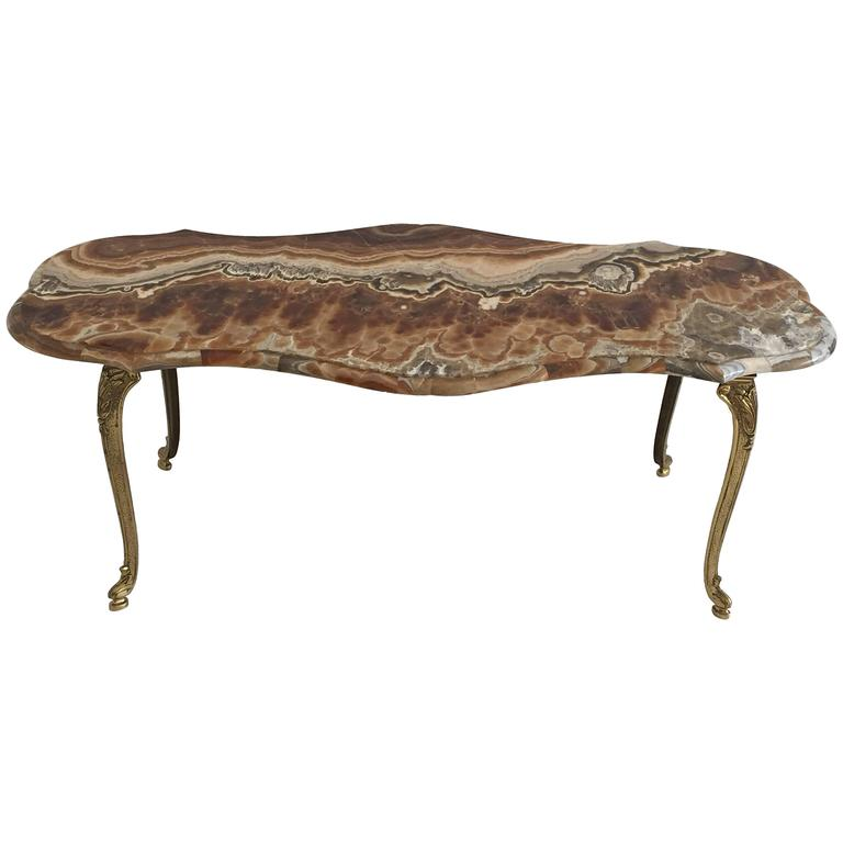 Onyx And Brass Coffee Table For Sale At 1stdibs