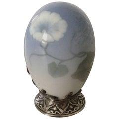 Royal Copenhagen Art Nouveau Egg with Anton Michelsen Silver Mounting, 1902