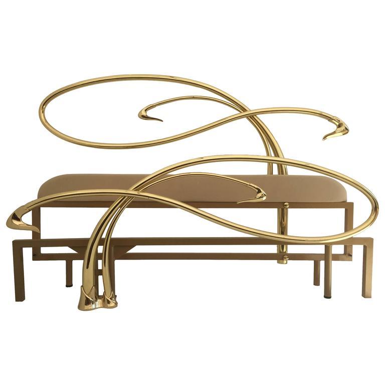 Swan Motif Art Nouveau Style Brass King-Size Bed