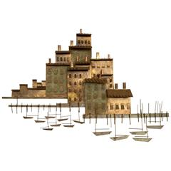 Curtis Jere Wall Sculpture, 'A Village On A Harbor With Small Boats' ***Saturday