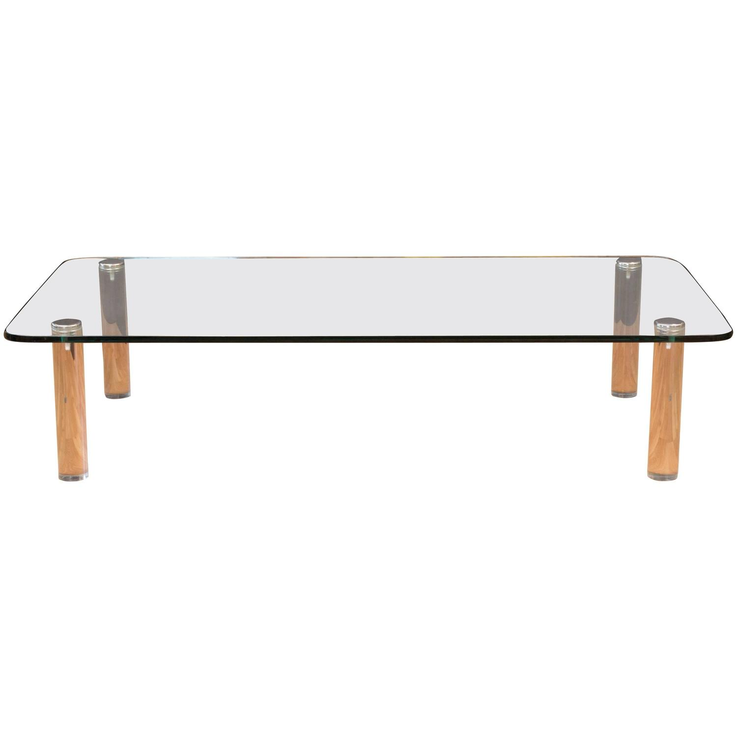 Large Glass And Lucite Coffee Table Leon Rosen For Pace Collection For