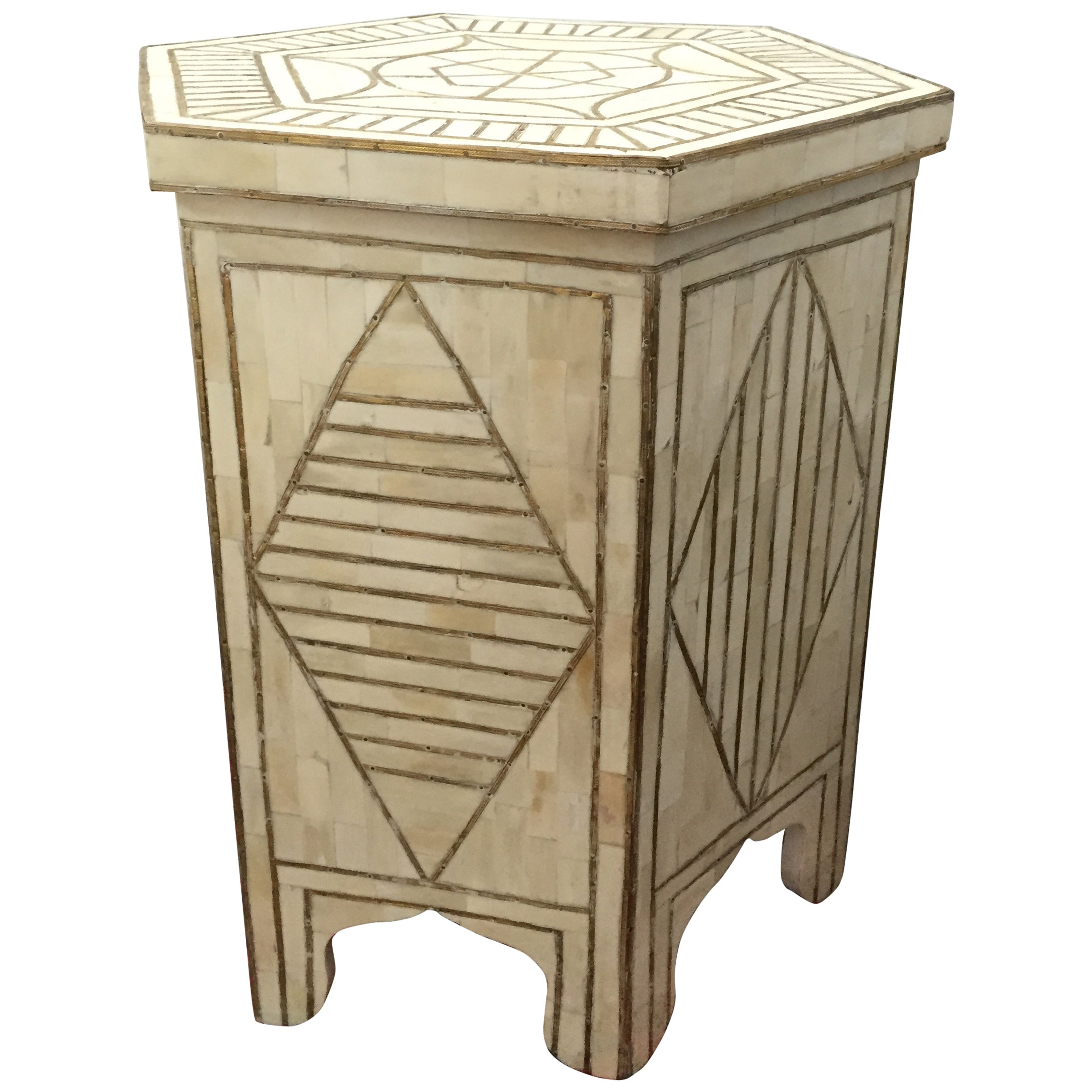 Bone and Brass Inlay Side Table with Geometric Modern Design For ...