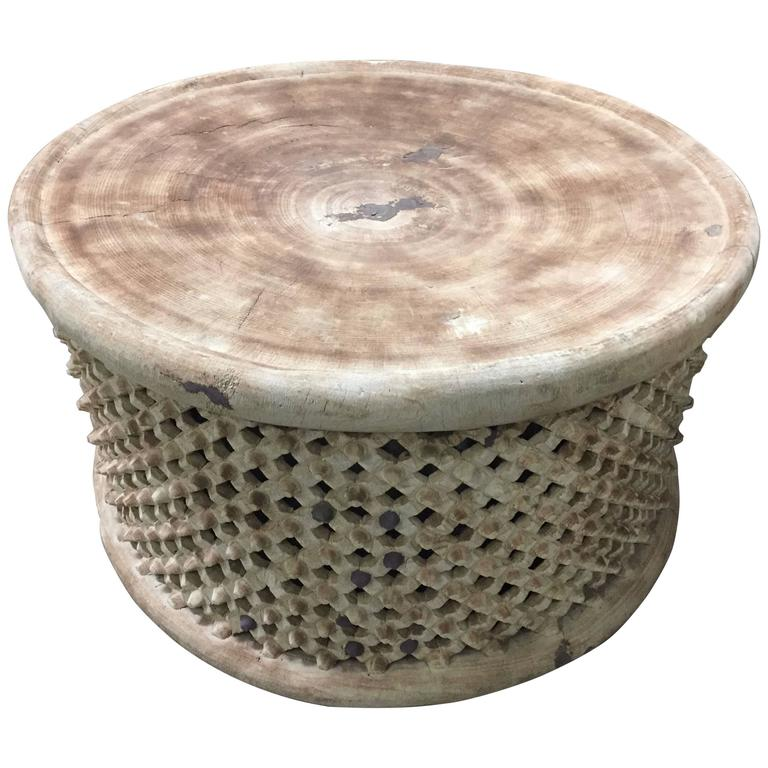 Light colored large african coffee cocktail table cameroon at 1stdibs African coffee tables