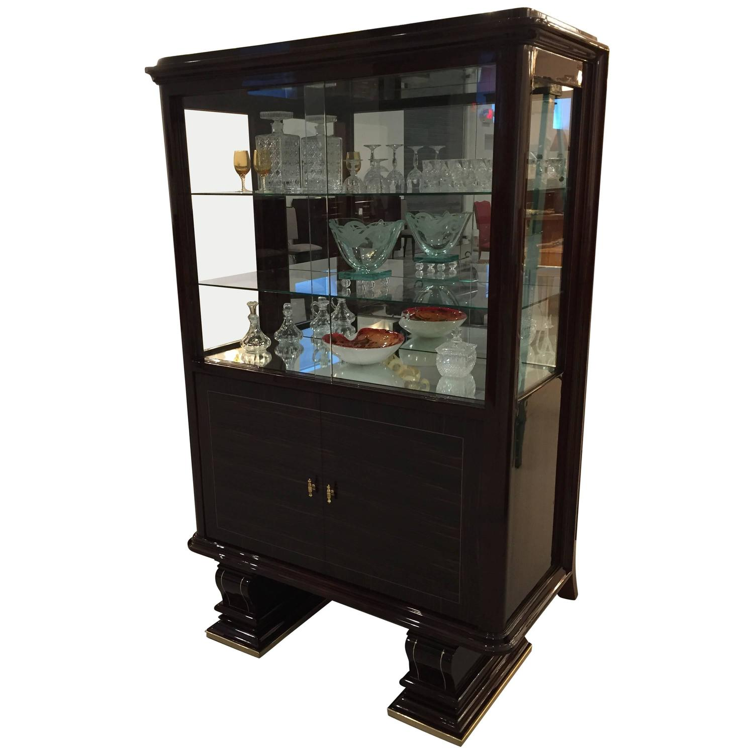 french art deco vitrine display cabinet dry bar for. Black Bedroom Furniture Sets. Home Design Ideas