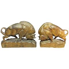 Set of hand-carved wooden bisons with nice patina
