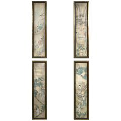 Set of Four Hand-Painted, on Silk Chinese Panels
