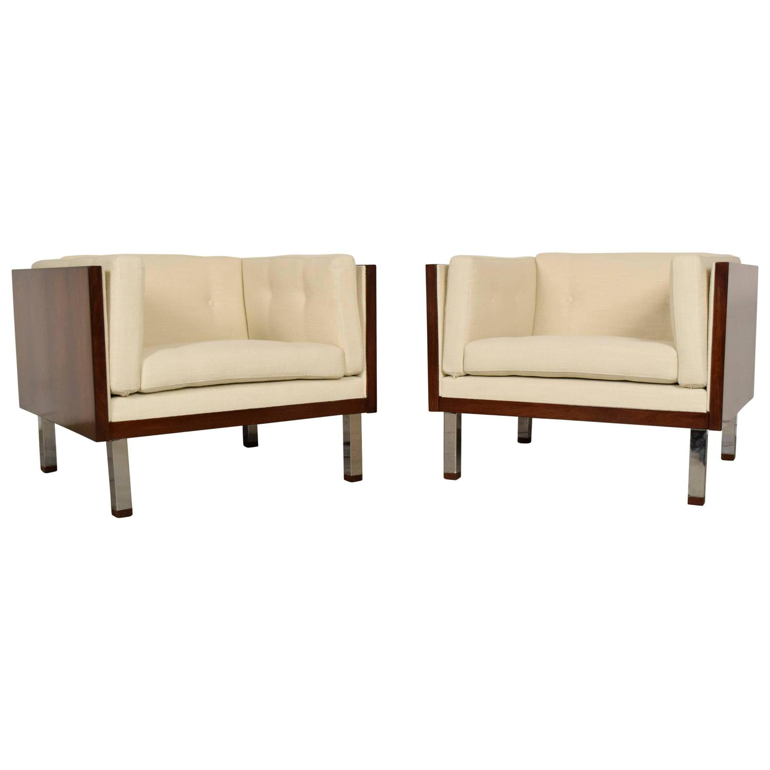 Pair of Milo Baughman Era Cube Chairs at 1stdibs