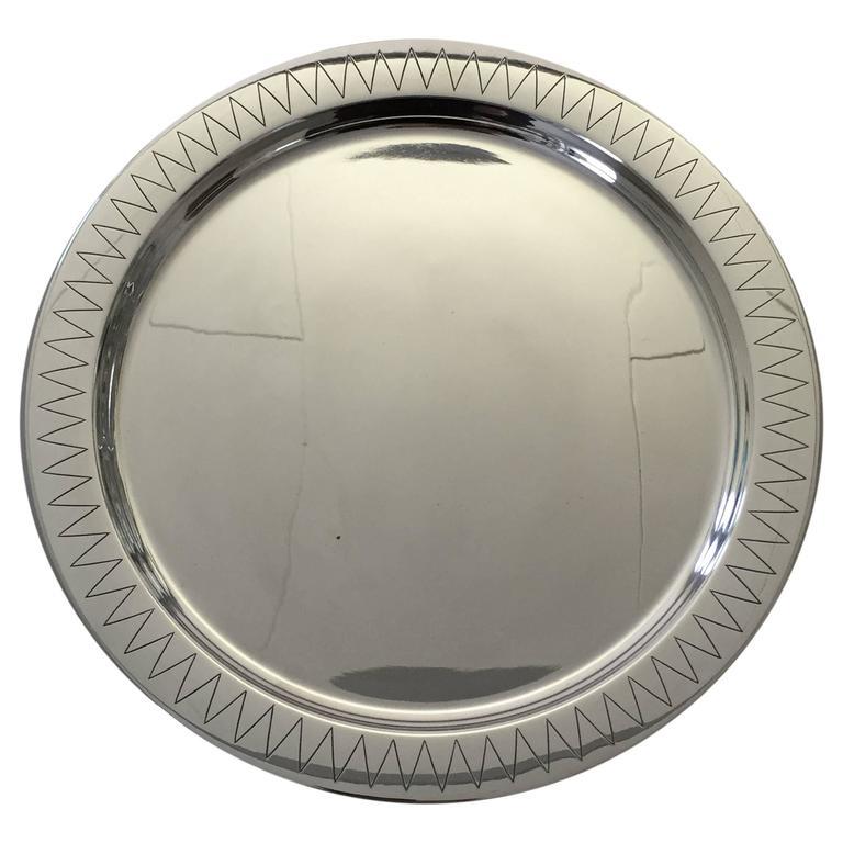 Hans Hansen Sterling Silver Tray Designed by Karl Gustav Hansen