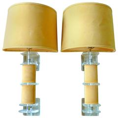 Rare Pair of Lucite and Faux Suede Sconces