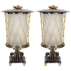 Pair of 1940s Lanterns in The Style of Gilbert Poillerat in Wrought Iron