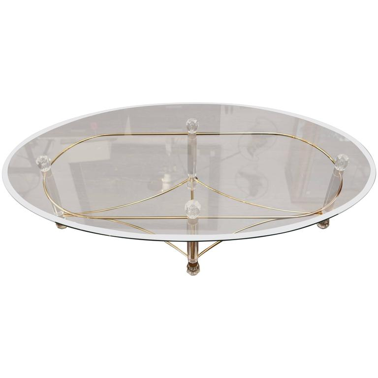Brass and lucite coffee table at 1stdibs for Lucite and brass coffee table