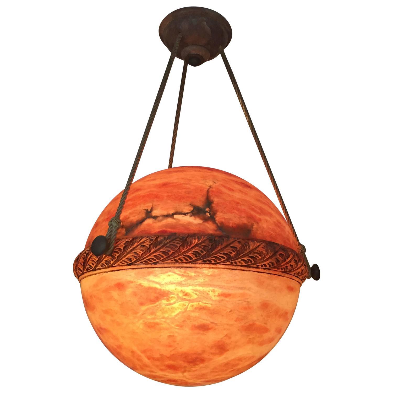 Alabaster Globe Style Chandelier At 1stdibs