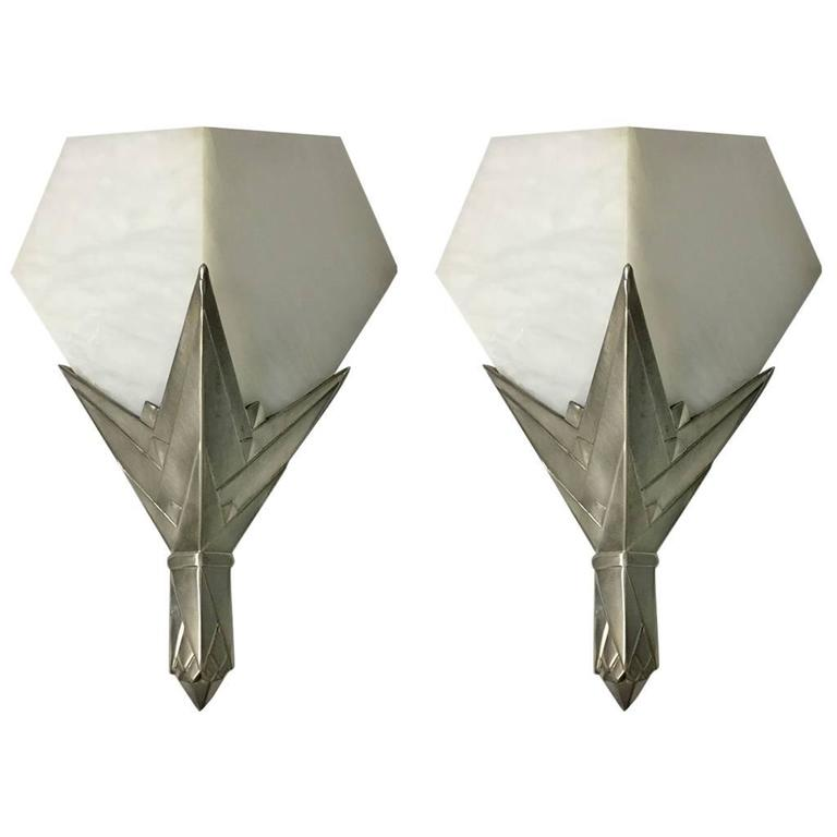 French Art Deco Wall Sconces : Pair of French Art Deco Alabaster Sconces at 1stdibs