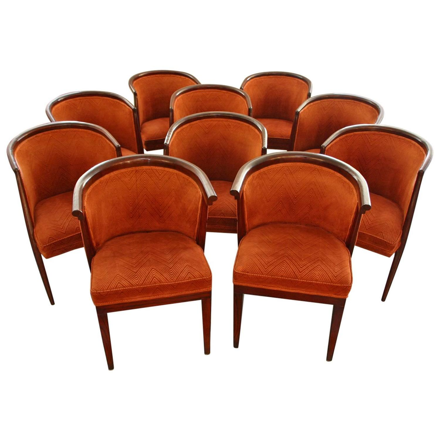 Ten harold schwartz mid century tub shaped dining chairs for Bucket dining room chairs