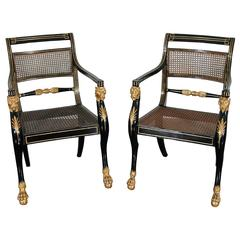 Exceptional Pair of Regency Armchairs
