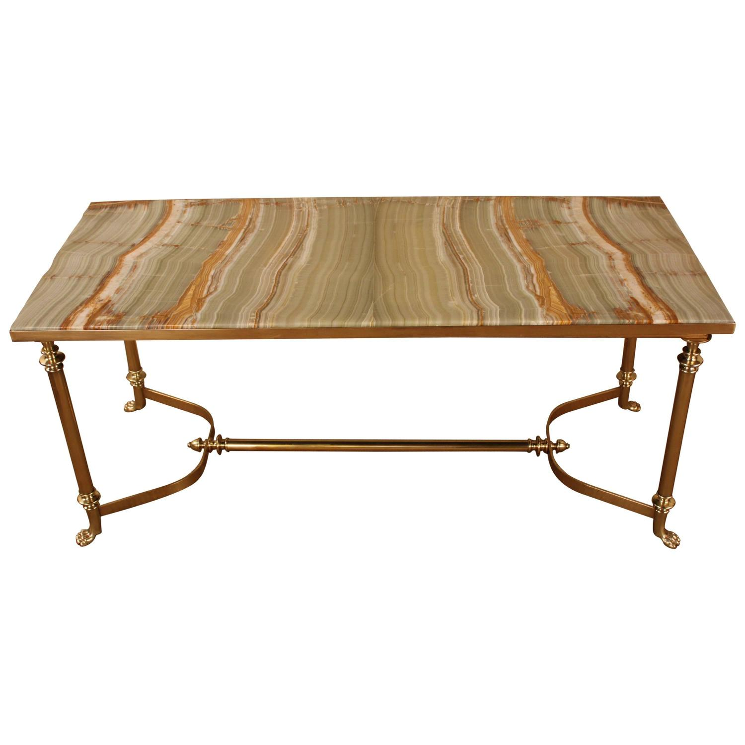 French mid century onyx top bronze coffee table at 1stdibs Bronze coffee tables