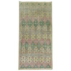 Shabby Chic Turkish Anatolian Runner with Pink and Green Accent Colors