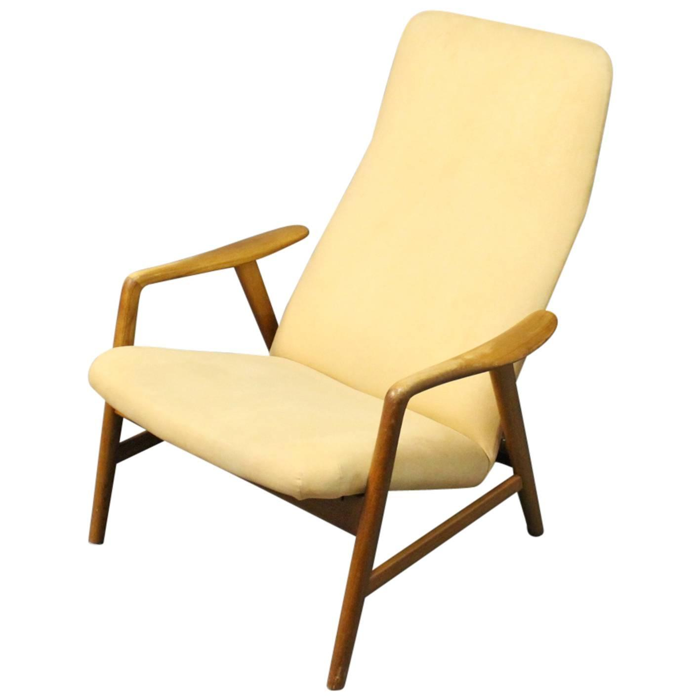 Alf Svensson Highback Reclining Lounge Chair Manufactured by Fritz