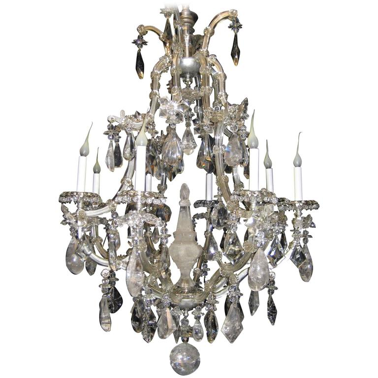 Antique French Baguès Style Rock Crystal and Crystal Chandelier For Sale - Antique French Baguès Style Rock Crystal And Crystal Chandelier For
