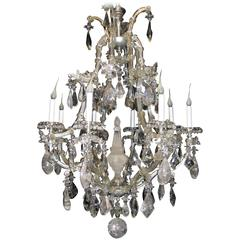 Antique French Baguès Style Rock Crystal and Crystal Chandelier