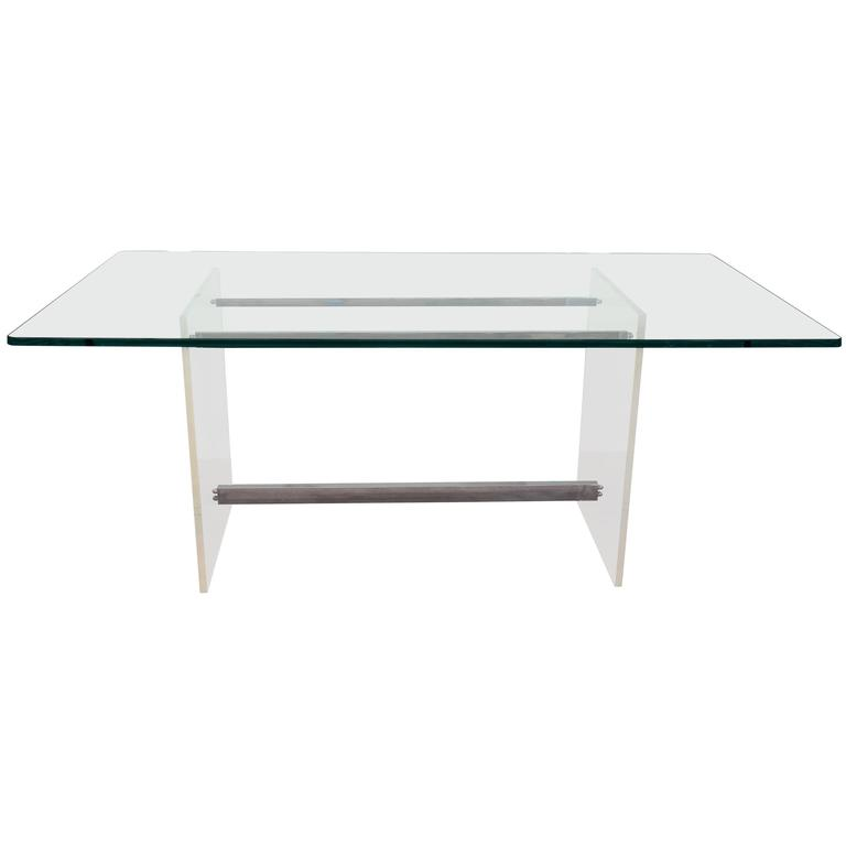 Glass Top Console on Lucite and Chrome Base