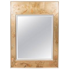 Labarge Mirror with Hand-Painted Églomisé Frame in the Chinoiserie Style