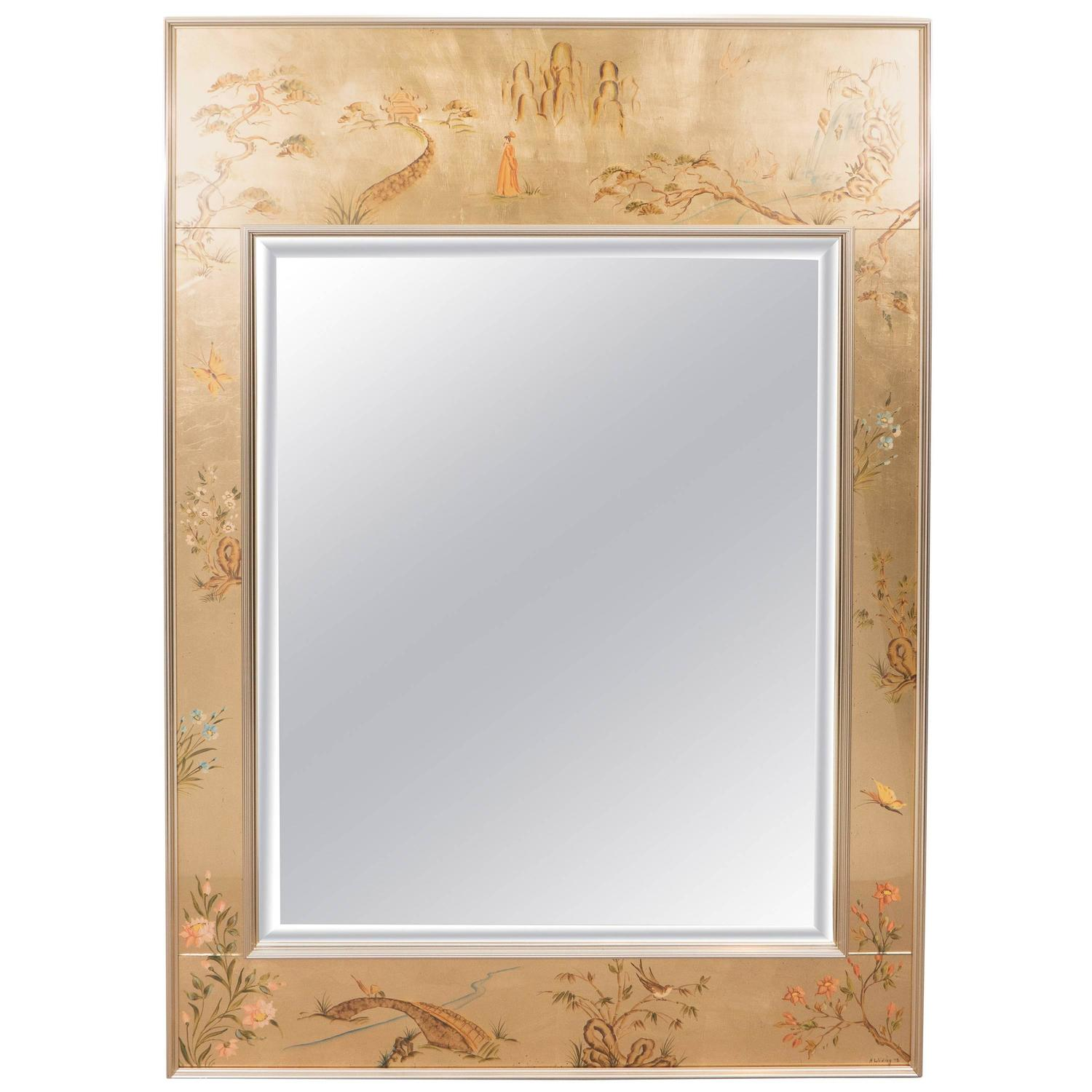 Labarge Mirror With Hand Painted Églomisé Frame In The Chinoiserie Style