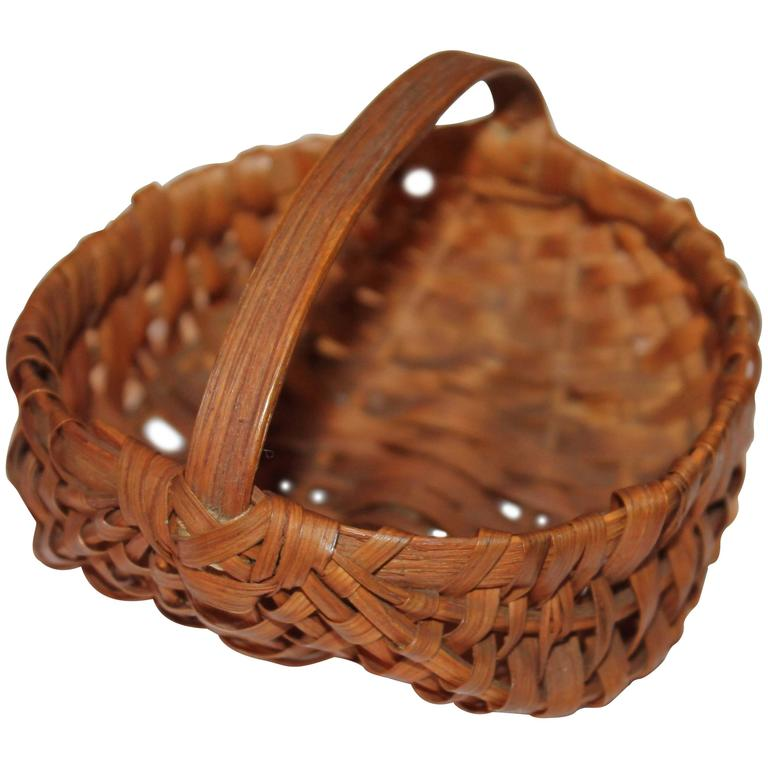 19th Century Early Handmade Miniature Basket