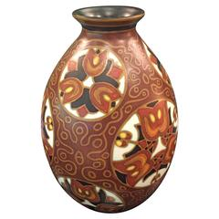 Boch Frères Art Deco Vase with Stylized Floral Motifs and African Style Decor