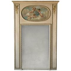 Antique French Trumeau with Angel Painting, circa 1910