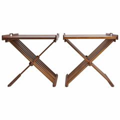 Pair of Walnut Folding Campaign Tray Tables by Stewart MacDougall for Drexel