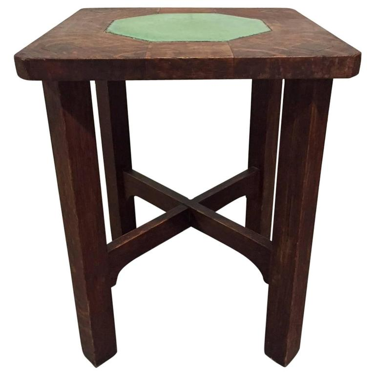 Rare Gustav Stickley Grueby TileTop Table For Sale at 1stdibs