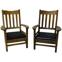 1920 Large Lodge Craftsman Style Lounge Chairs