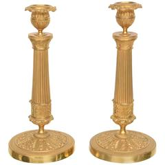Pair of Gilt Brass 19th Century, Louis XVI Style Neoclassical Candle Sticks