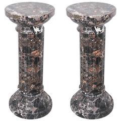 Pair of Louis XVI Style, Neo-Classical Marble Columnar Pedestals, 19th Century