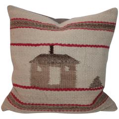 Early and Rare Pictorial Navajo Indian Weaving Pillow
