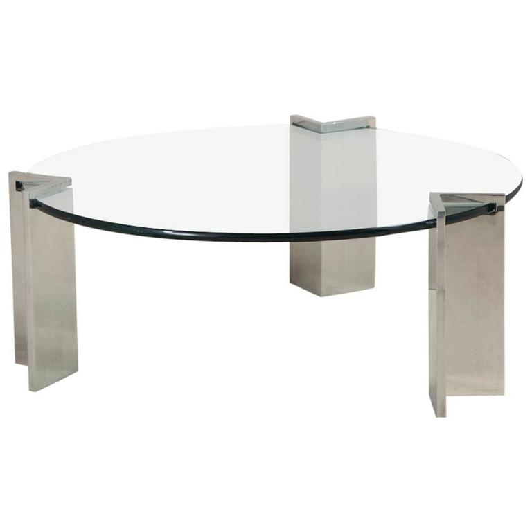 Steel and Glass Leon Rosen for Pace Coffee Table, 1970s 1
