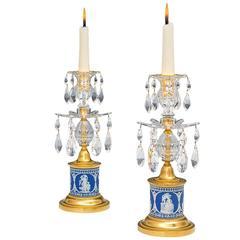 Pair of Ormolu-Mounted Wedgwood Drum Base Candlesticks