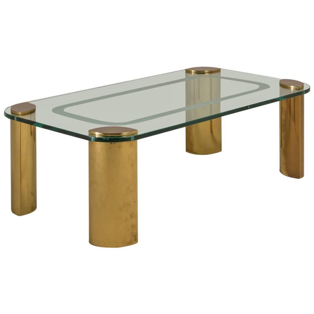 Chunky Rectangular Brass And Glass Coffee Table, 1970s For