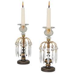 Pair of Ormolu and Bronze Regency Candlesticks