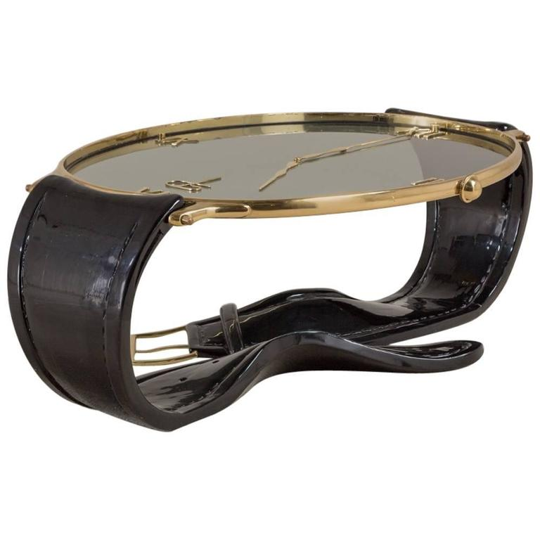 Vintage Brass And Lacquer Ds Wrist Watch Coffee Table For