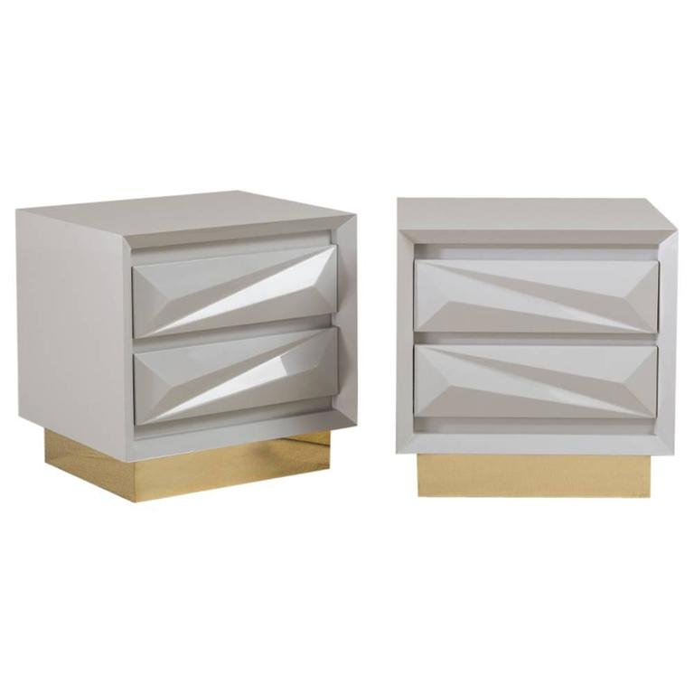Standard Pair of Lacquered Asymmetrical Side Cabinets by Talisman Bespoke