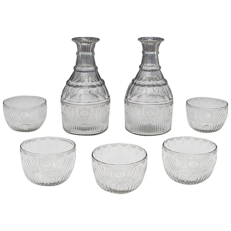 Pair of Georgian Magnum Carafes with Matching Finger Bowls