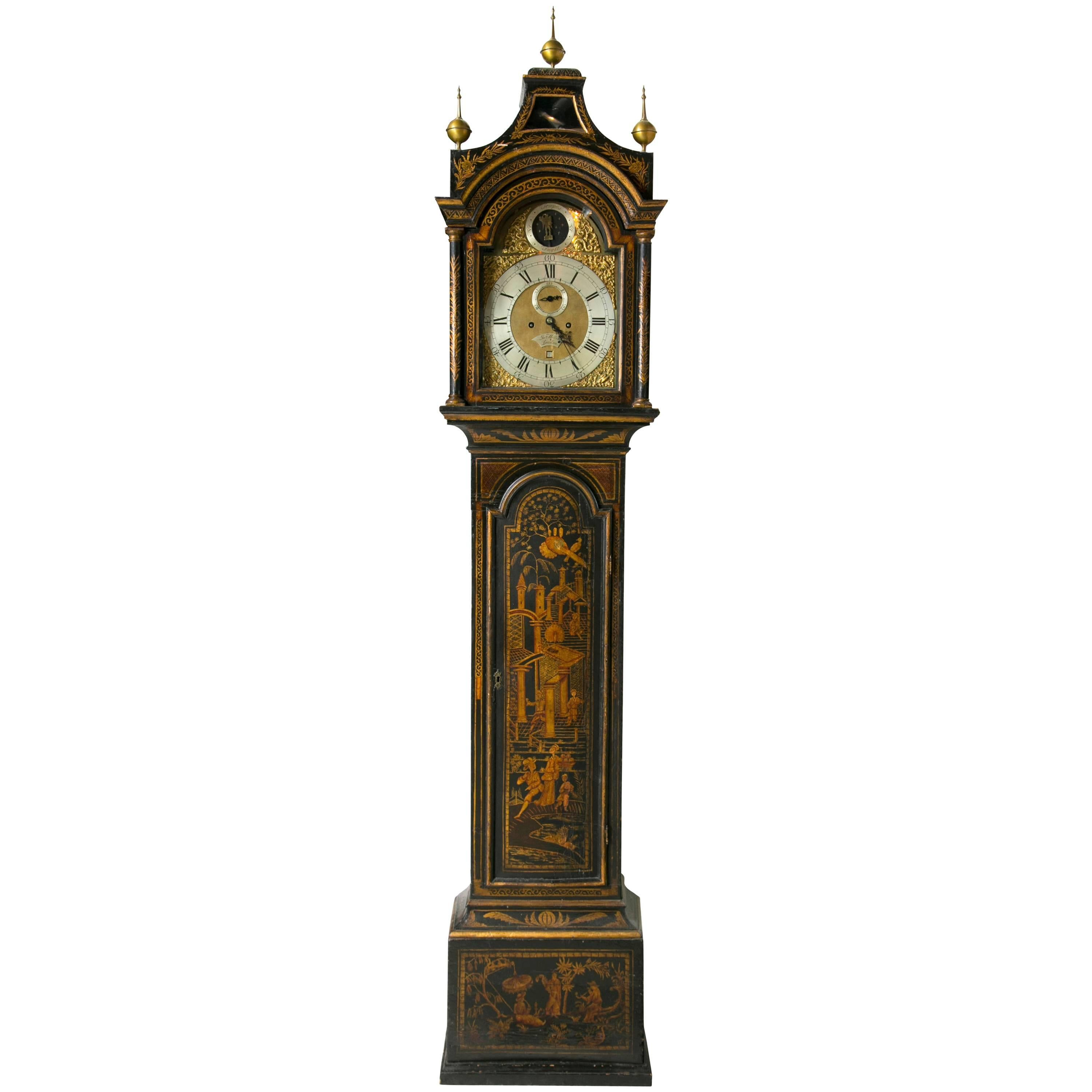 Black Chinoiserie Grandfather Clock