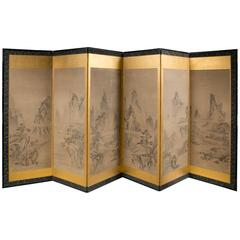 Japanese Six Panel Folding Screen, circa 19th Century