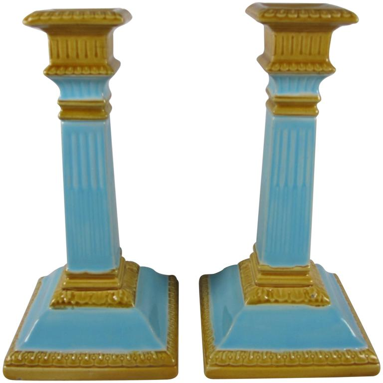 William Brownfield 19th Century Neoclassical English Majolica Candlesticks, Pair For Sale