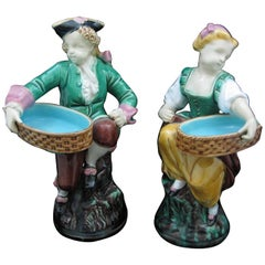 Minton Majolica Carrier-Belleuse's Hogarth Figural Salt Cellars / Match Pots S/2