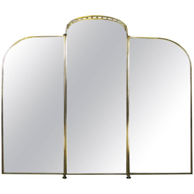 Monumental French Art Nouveau Three Part Mirror For Sale