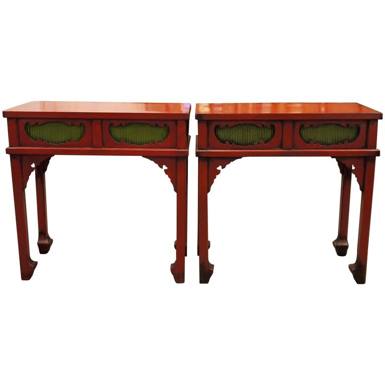 Pair Of Japanese Red Lacquer Side Tables For Sale